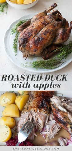 Roasted duck with apples + how to roast a whole duck. The meat is juicy, tender and aromatic, falls easily off the bone, you can cut it with a fork! Turkey Recipes, Meat Recipes, Dinner Recipes, Cooking Recipes, Healthy Recipes, Holiday Recipes, Whole Duck Recipes, Whole Wild Duck Recipe, How To Cook Duck