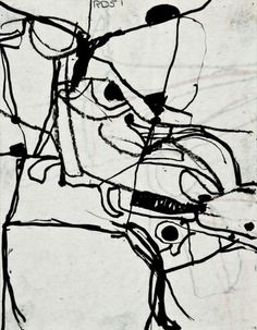 Richard Diebenkorn (American, 1922-1993),  Untitled, 1951.  Ink brush drawing on paper,  11 x 8.63 in.