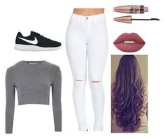 """""""Untitled #9"""" by sonatamoonlight on Polyvore featuring Glamorous, NIKE, Lime Crime and Maybelline"""