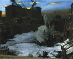 George Wesley Bellows (1882-1925). Pennsylvania Station Excavation, c. 1907-1908, oil on canvas, 79.2 x 97.1 cm, Brooklyn Museum.
