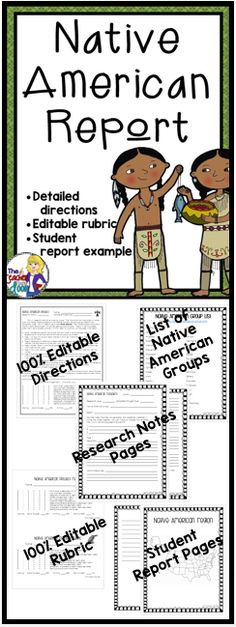 This Native American Research Report unit has 19 pages. It is very organized! Allows students to use higher level thinking skills to locate important information and create a Native American research report highlighting their new knowledge. Everything you will need to organize the social studies unit is included. (TpT Resource)
