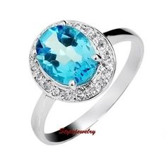 Natural Topaz White Gold Filled with Silver Wedding Bridal Engagement Ring SR56