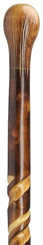 Spiral Bulb Top Hiking Stick Straight bulb top handle with an artistic spiral hand grooved 36 inches shaft hand carved by a master craftsman. Imported from Germany. 36 inches is the standard length. W