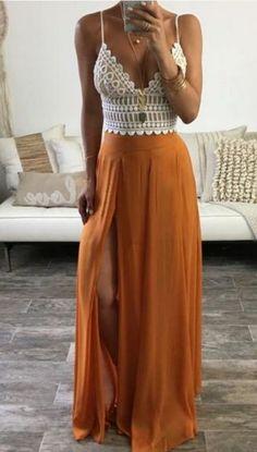 orange chiffon slit-skirt prom dress,sleeveless white applique v-neck spaghetti-straps party dress,LS0104