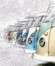 New volkswagen campers van drawing vw bus Ideas Volkswagen Transporter, Volkswagen Bus, Vw T1 Camper, Vw Caravan, T3 Vw, Vw Bugs, Van Drawing, Kombi Pick Up, Eriba Puck