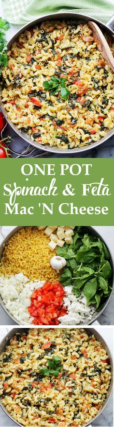 One Pot Spinach & Feta Macaroni and Cheese - Covered in a creamy feta cheese sauce, tomatoes and fresh spinach.