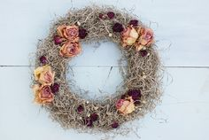 Autumn decoration Dried roses wreath Dried roses Dried by mamwene