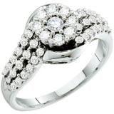 Share 0.75 Carat (ctw) 14k White Gold Round White Diamond Ladies Cluster Flower Engagement Ring - Dazzling Rock #https://www.pinterest.com/dazzlingrock/