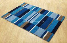 Blocks Blue Contemporary Rug - Multicolored rug