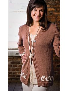 Knitting - Patterns for Wearables - Cardigan Patterns - Leaf Edged Cardigan