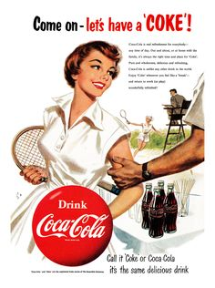 Tennis. Coke 1954 advertisement