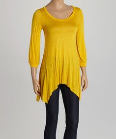 Loving this Yellow Sidetail Tunic on #zulily! #zulilyfinds