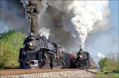 twin steam locomotives