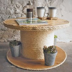 Cable Drum Rope Edge Coffee Table - furniture