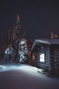 """wet snow starlit cabin """"Pyhä-Luosto National Park by Konsta Linkola"""" Winter Szenen, Winter Cabin, Cozy Cabin, Winter Night, Winter Time, Cabin Tent, Photo Images, Cabins And Cottages, Log Cabins"""