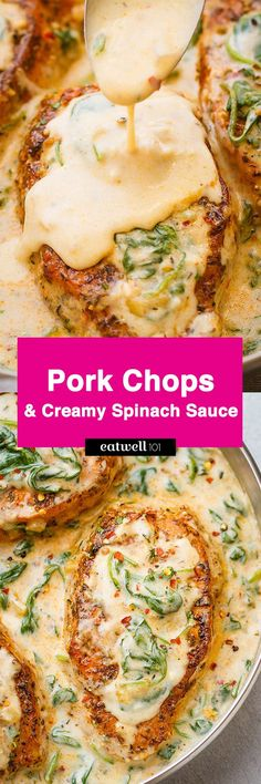 Boneless Pork Chops in Creamy Garlic Spinach Sauce – Sandra M . Boneless Pork Chops in Creamy Garlic Spinach Sauce Boneless Pork Chops with Garlic Butter Spinach Sauce — Packed with flavor, a perfect meal for all of your family and friends to enjoy! Garlic Recipes, Meat Recipes, Low Carb Recipes, Cooking Recipes, Healthy Recipes, Fresh Spinach Recipes, Pork Recipes For Dinner, Pork Chop Recipes, Recipies