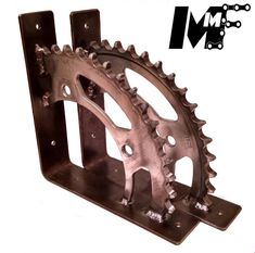 These shelf brackets are made from a Motorcycle rear sprocket. They measure 6.00 X 6.00 and weigh 3.5lbs per pair. They come pre drilled and