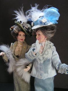 'The Gossips!' You can just imagaine them ooing and ahhing over some tasty bit of gossip can't you? They are made from 3 Marcia Backstrom Doll kits I've had sitting in a drawer for some time. They will soon be available on my website for each. Dollhouse Dolls, Miniature Dolls, Dollhouse Miniatures, Blush On Cheeks, Victorian Dolls, Doll Costume, New Dolls, Doll Hair, Little People