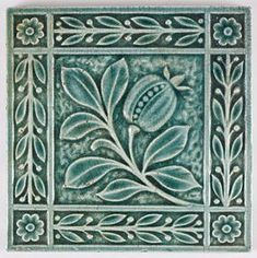 Antique Arts and Crafts tile. E. Smith pomegranate tile 1890