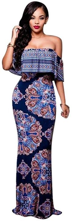 Elegant Vintage Flowers Off Shoulder Ruffle Plain Bodycon Long Party Maxi Dress (Medium, Dim Blue)