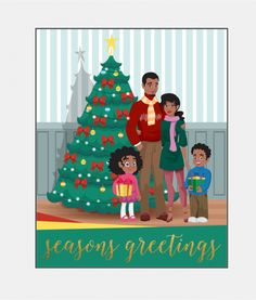 family african american christmas card boxed set