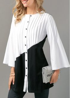 Pintuck Color Block Button Up Blouse Dress With Cardigan, Belted Dress, Trendy Tops For Women, Pin Tucks, Unique Fashion, Pretty Outfits, Button Up, Fashion Outfits, Womens Fashion