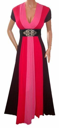 SLIMMING PINK BLACK LONG MAXI COCKTAIL DRESS Plus Size
