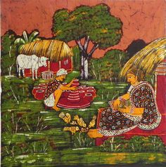 Potter with his Wife (Batik Painting on Cotton Cloth - Unframed))