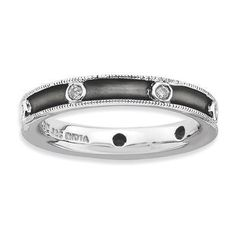 NEW STERLING SILVER STACKABLE 1/6 CT TW DIAMOND RHODIUM PLATED BEZEL RING SZ 10 #StackableExpressions #Stackable