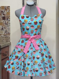 Sweetheart Hostess ApronCupcakes on BlueFull of by AquamarCouture, $37.00