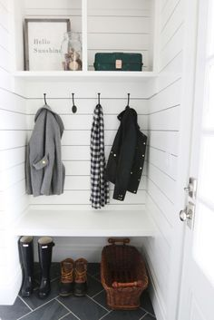 Rustic Modern Farmhouse Mudroom Entrance