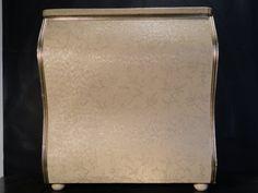 Large Vintage Retro Mid Century Bombe Chest Laundry Clothing Hamper Blush Pink Metallic Gold