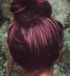 Plum Hair with rosegold peekaboo highlights. Great way to cheat on corporate America hahaha