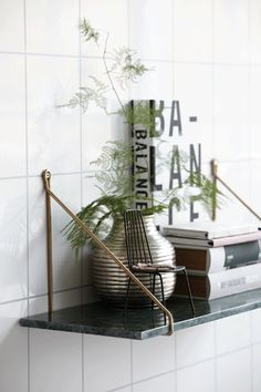 Holly's House - Green Marble and Brass Shelf