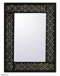 Handcrafted Floral Wall Mirror - Silver Blossoms | NOVICA