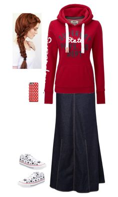 """""""Red sweatshirt"""" by dominiquemcain ❤ liked on Polyvore featuring MANGO, Superdry, Converse, country, women's clothing, women, female, woman, misses and juniors"""