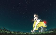 ahoge ass back bent_over bikini_top blue_eyes blue_jean_shorts denim denim_shorts feet flcl from_behind grass green_eyes haruhara_haruko high_heels highres kneepits legs long_hair looking_up motor_vehicle mountain night night_sky nikerabi open_mouth outdoors pink_hair ponytail sandals scooter shoes short_shorts shorts sky solo star star_(sky) starry_sky vehicle vespa wallpaper widescreen