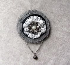 Jeans boho flower brooch with small chain, White lace flower accessory, Black and grey denim brooch, Pendant steampunk brooch, Diy gifts by WelcomeToUkraine on Etsy