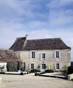 when I first saw the exterior of this gorgeous century manor house in Dordogne, France (east of Bordeaux); I love the brick walls and light blue . French Country House, French Farmhouse, Country Homes, Country Charm, Country Decor, Dordogne, Stone Houses, My Dream Home, House Tours