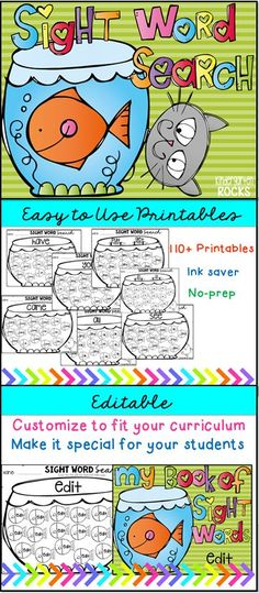 Sight word search Printables {Editable} are fun activities to use throughout the year for morning work, homework, literacy centers or students that finish early. You can also send them home over the summer for reinforcement and to prevent the summer slip. Students will focus on identifying and reading one sight word at a time. This is a great introduction activity, review and/or intervention.