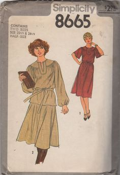 Simplicity 8665 1970s Half Size Women Dress Skirt and Top two piece dress womens vintage sewing pattern by mbchills
