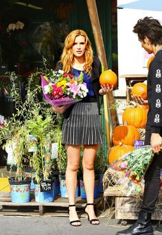 Bella Thorne buying cut flowers in West Hollywood.