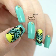 Image via Cool Tribal Nail Art Ideas and Designs Image via Customized Aztec Press On Nails Fake nails Image via Cool Tribal Nail Art Ideas and Designs. Work to mark rites of passa Aztec Nail Art, Tribal Nail Designs, Tribal Nails, Simple Nail Designs, Nail Art Designs, Get Nails, Hair And Nails, Gorgeous Nails, Pretty Nails