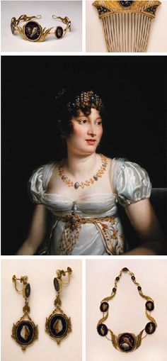 Caroline Murat. Napoleon's younger and power hungry-sister. Portrait by François Pascal Simon Gérard//A set of jewelry owned by Caroline Murat, Queen of Naples    Also, incidentally, the sister of one Napoleon Bonaparte    Gold, Lapis Lazuli, Inlaid Chalcedony (Pietre Dure), ca 1808