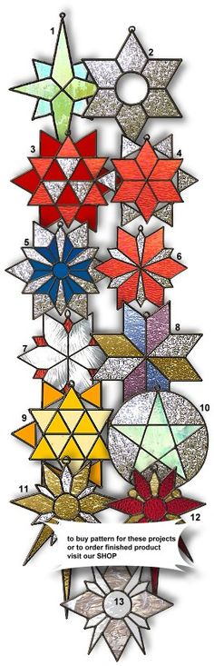 colored glass stars