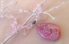 Pink flower dragoness - stone painting necklace by AlviaAlcedo.deviantart.com on @deviantART