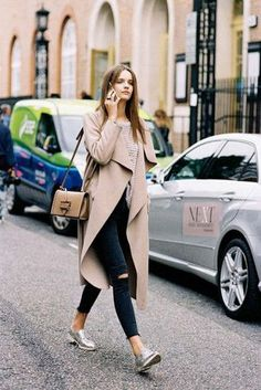 coat tumblr camel coat jeans black jeans skinny jeans silver shoes flats pointed flats bag brown bag fall outfits