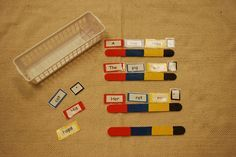 Sentence building (use Montessori grammar color coding for the parts of speech)