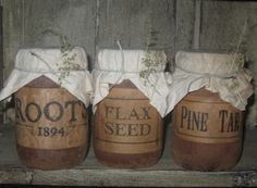 """Mercantile Soy Candles, Jar  - """"Roots 1894"""", """"Flax Seed"""" & """"Pine Tar""""-primitive lighting, colonial lighting, primitive candles, country candles, early prim, jar candles, primitive soy candles,"""