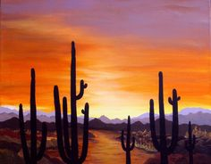 Saguaro Sunset, original painting by the artist, acrylic,canvas,#desert #Realism